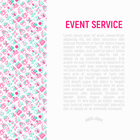 Event services concept with thin line icons: kids party, gifts, birthday, magician, clown, videographer, party invitation, corporate, fireworks, romatic date. Vector illustration, print media template Vektorové ilustrace