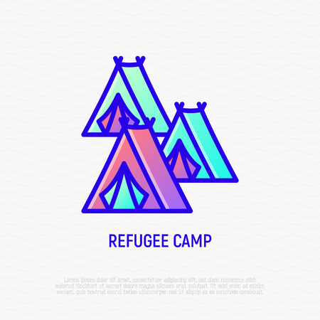 Refugee camp, tents thin line icon. Modern vector illustration.