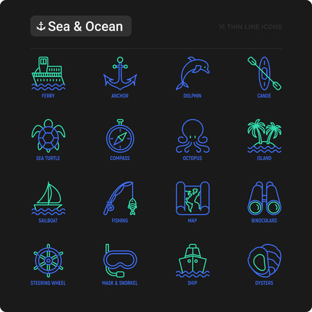 Sea and ocean journey thin line icons set: sailboat, fishing, ship, oysters, anchor, octopus, compass, steering wheel, snorkel, dolphin, sea turtle. Modern vector illustration for black theme. Ilustração