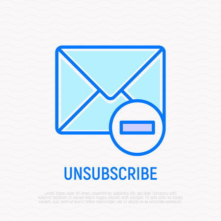 Unsubscribe thin line icon: envelope with minus. Modern vector illustration. Stock Illustratie