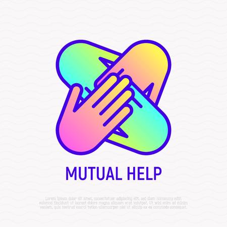 Quattro mani insieme icona linea sottile, simbolo di aiuto reciproco, carità, lavoro di squadra, supporto. Illustrazione vettoriale moderno con gradiente. Vettoriali