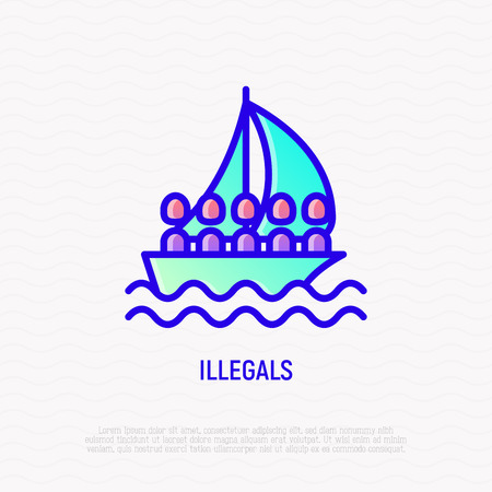 Illegals on boat thin line icon. Modern vector illustration of migration.