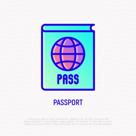 Passport with globe thin line icon. Modern vector illustration of identification document.