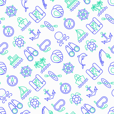 Sea and ocean journey seamless pattern with thin line icons: sailboat, fishing, ship, oysters, anchor, octopus, compass, steering wheel, snorkel, dolphin, sea turtle. Modern vector illustration.