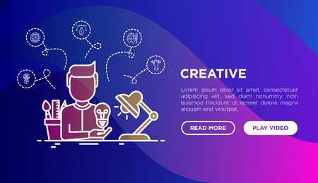 Creative concept: creator generates idea, with thin line icons: start up, brief, brainstorming, color palette, creative vision. Modern vector illustration, web page template on gradient background. Ilustração