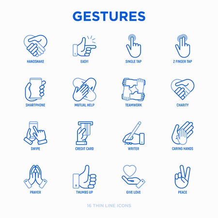 Hands gestures thin line icons set: handshake, easy sign, single tap, 2 finger tap, holding smartphone, teamwork, mutual help, swipe, insert credit card, prayer, peace. Modern vector illustration. 向量圖像