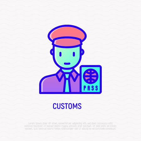 Customs thin line icon: officer checking passport. Modern vector illustration.