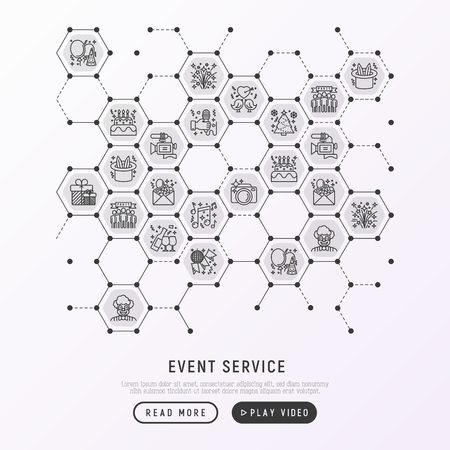 Event services concept in honeycombs with thin line icons: kids party, gifts, birthday, magician, clown, videographer, party invitation, corporate, fireworks. Vector illustration, web page template.