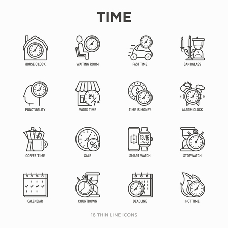 Time thin line icons set: coffee time, stopwatch, smart watch, hot time, sale, deadline, alarm, open hours, countdown. Modern vector illustration. Illusztráció