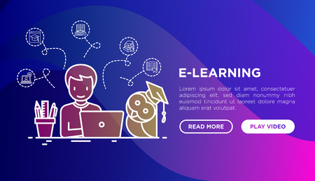 E-learning concept: student with laptop and wise owl. Thin line icons around: online library, training, communication, video conference. Vector illustration, web page template on gradient background. Illustration
