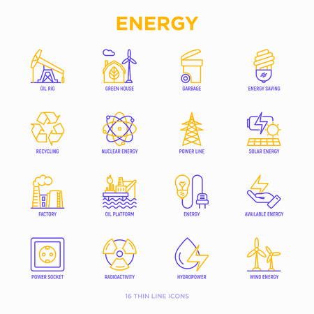 Energy thin line icon: factory, oil platform, hydropower, wind energy, power socket, radioactivity, garbage, oil rig, green house, solar energe, recycling, nuclear energy. Modern vector illustration 向量圖像