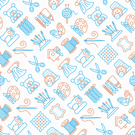 Handmade seamless pattern with thin line icons: sewing machine, knitting, needlework, drawing, embroidery, scissors, threads. Modern vector illustration, background for print media about workshop.