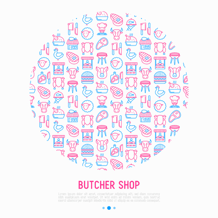 Butcher shop concept in circle with thin line icons: meat steak, beef, pork, mutton, BBQ, chicken, burger, cutting board, meat knives. Modern vector illustration, print media template. Illustration