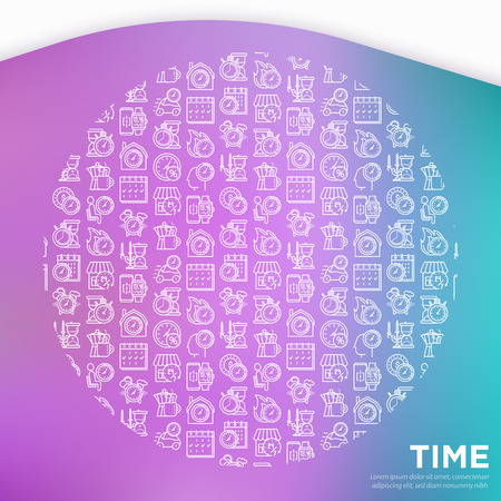 Time concept in circle with thin line icons: coffee time, stopwatch, smart watch, hot time, sale, deadline, alarm, open hours, coundown. Modern vector illustration, template for print media.