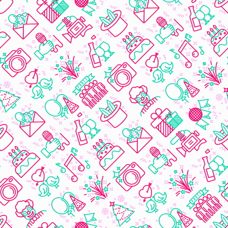Event services seamless pattern with thin line icons: kids party, gifts, birthday, magician, clown, videographer, party invitation, corporate, fireworks, music, celebration. Vector illustration. 일러스트