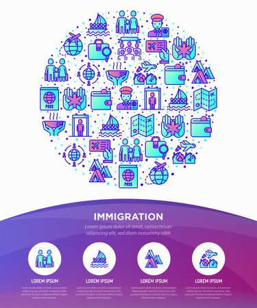 Immigration concept in circle with thin line icons: immigrants, illegals, baggage examination, passport, international flights, inspection, refugee camp. Modern vector illustration, web pa template. Illustration