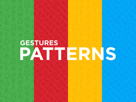 Four seamless patterns with hands gesturesthin line icons: handshake, easy sign, single tap, 2 finger tap, mutual help, swipe, insert credit card, prayer, thumbs up, give love. Vector illustration.