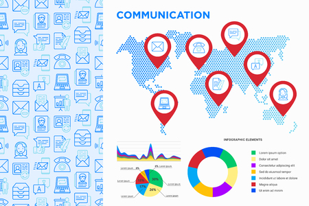 Communication infographics, pointers on map with thin line icons: email, phone, chat, contacts, comment, inbox, translator, presentation, message, screen share, support. Modern vector illustration.