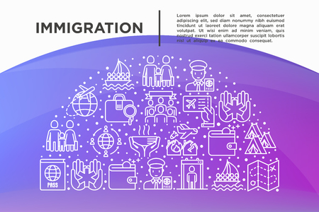 Immigration concept in half circle with thin line icons: immigrants, illegals, baggage examination, passport, international flights, customs, inspection, social benefit. Modern vector illustration.
