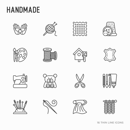 Handmade thin line icons set: sewing machine, knitting, needlework, drawing, embroidery, scissors, threads, yarn, pin. Modern vector illustration.