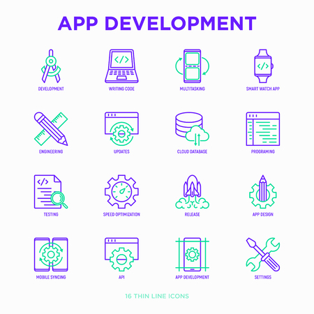 App development thin line icons set: writing code, multitasking, smart watch app, engineering, updates, cloud database, testing, speed optimization, API, mobile syncing. Modern vector illustration. Illustration