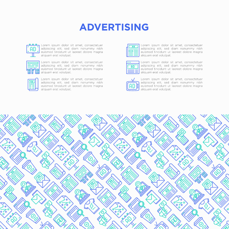 Advertising concept with thin line icons: billboard, street ads, newspaper, magazine, product promotion, email, GEO targeting, social media, strategy, banner. Vector illustration, web page template.