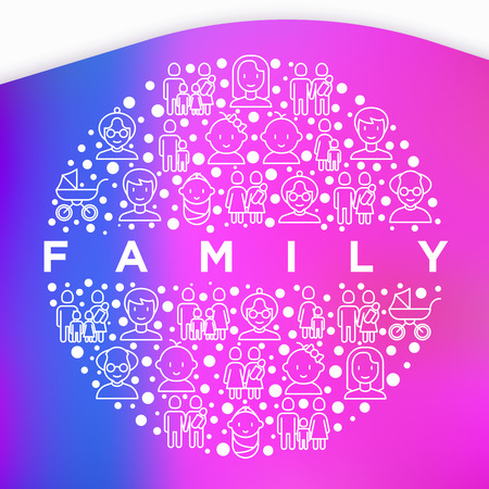 Family concept in circle with thin line icons: mother, father, newborn, son, daughter, lesbian, gay, single mother and child, grandmother, grandfather. Vector illustration, print media template.