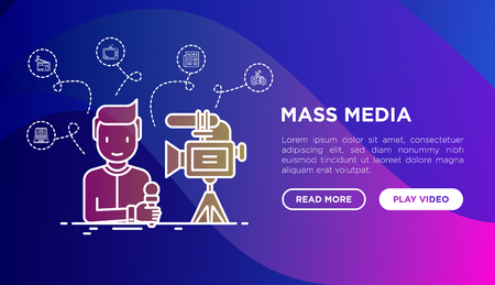 Mass media concept: journalist with microphone and camera. Thin line icons: blog, TV, radio, newspaper, press. Modern vector illustration, web page template on gradient background. 向量圖像