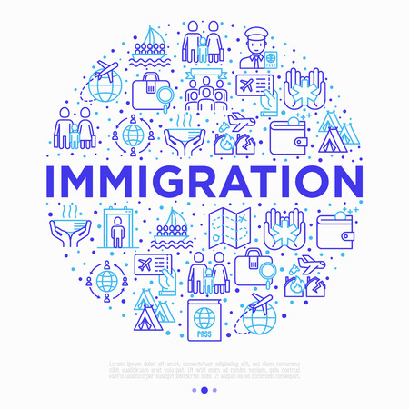 Immigration concept in circle with thin line icons: immigrants, illegals, baggage examination, passport, demonstration, humanitarian aid, social benefit, one way ticket, route. Vector illustration.