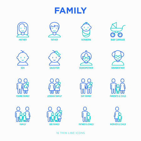 Family thin line icons set: mother, father, newborn, son, daughter, lesbian, gay, single mother and child, grandmother, grandfather. Modern vector illustration. Stockfoto - 114085980
