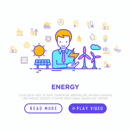 Energy concept with thin line icons: factory, oil platform, hydropower, wind energy, power socket, radioactivity, garbage, oil rig, recycling. Vector illustration, web page template.