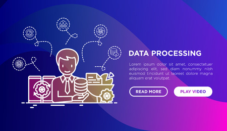 Data processing concept: SMM manager analyzes and collects data. Thin line icons: filtering, deep learning, mobile syncing, usage. Vector illustration, web page template on gradient background. Vektorové ilustrace