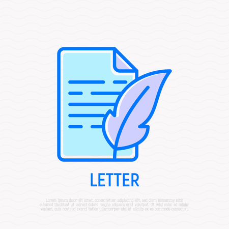 Letter with feather thin line icon. Modern vector illustration of retro style communication.