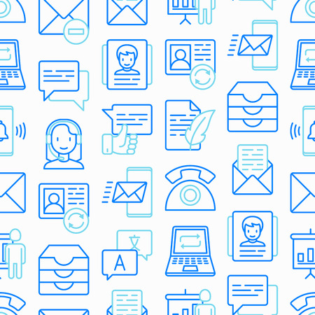 Communication seamless pattern with thin line icons: email, phone, chat, contacts, comment, inbox, translator, presentation, message, screen share, support. Vector illustration.