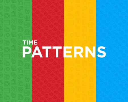 Four different time seamless pattern with thin line icons: coffee time, stopwatch, smart watch, hot time, sale, deadline, alarm, open hours, countdown. Modern vector illustration.