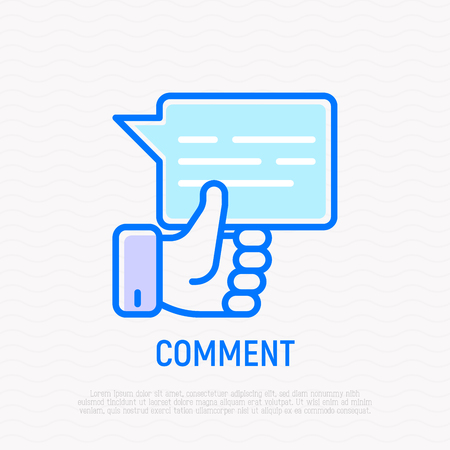 Comment thin line icon: speech bubble with thumbs up. Modern vector illustration.