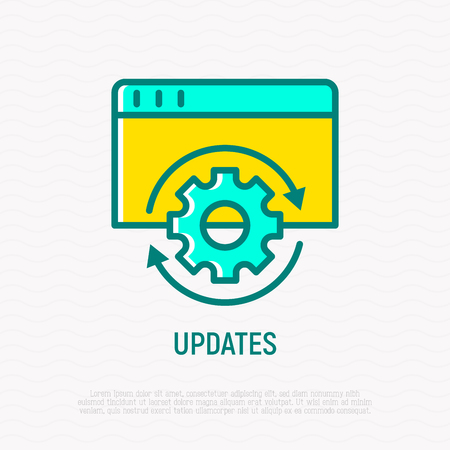 Updates, reload thin line icon. Modern vector illustration.