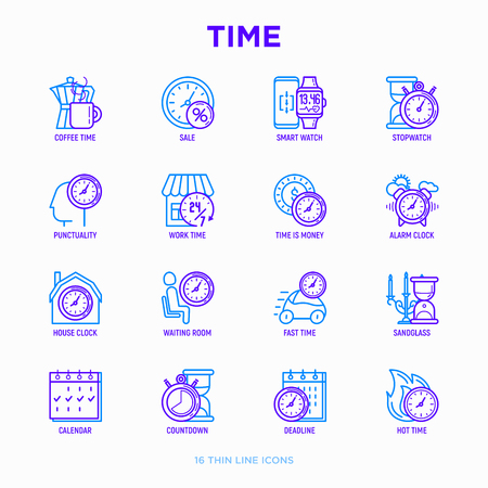 Time thin line icons set: coffee time, punctuality, stopwatch, smart watch, hot time, sale, deadline, alarm, open hours, countdown, work time, sandglass, waiting room, calendar. Vector illustration