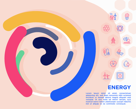 Energy conceptwith thin line icons: factory, oil platform, hydropower, wind energy, power socket, radioactivity, garbage, oil rig, recycling. Vector illustration, print media template.