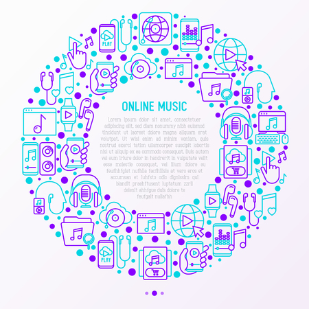 Online music concept in circle with thin line icons: smartphone with mobile app, headphones, earphones, equalizer, speaker, smart watch, microphones. Vector illustration, print media template.