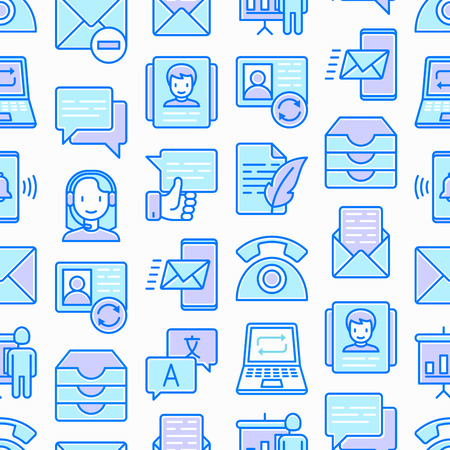 Communication seamless pattern with thin line icons: email, phone, chat, contacts, comment, inbox, translator, presentation, message, screen share, support. Vector illustration. Stock Illustratie