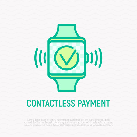 Contactless payment thin line icon: approved operation on smart watch screen. Modern vector illustration.