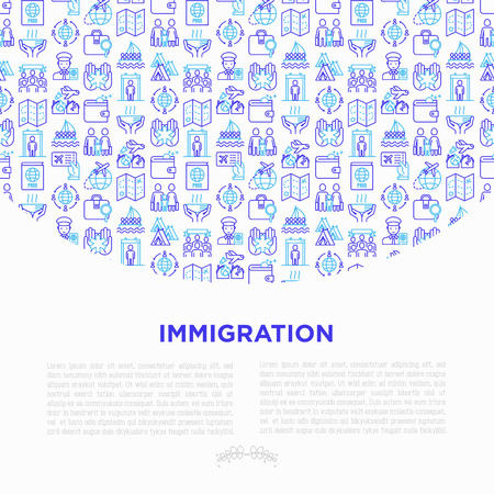 Immigration concept with thin line icons: immigrants, illegals, baggage examination, passport, international flights, customs, inspection, refugee camp, demonstration. Vector illustration. Stock Illustratie