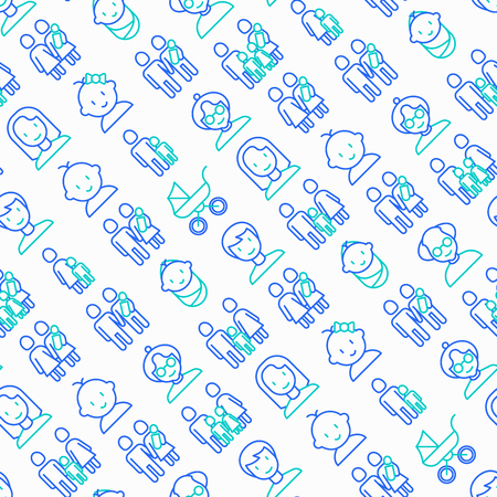 Family seamless pattern with thin line icons: mother, father, newborn, son, daughter, lesbian, gay, single mother and child, grandmother, grandfather. Vector illustration. Illustration