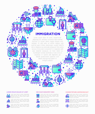 Immigration concept in circle with thin line icons: immigrants, illegals, baggage examination, passport, international flights, customs, inspection, refugee camp. Modern vector illustration.