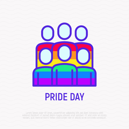 Pride day thin line icon: people in rainbow t-shirts. Modern vector illustration. Illustration