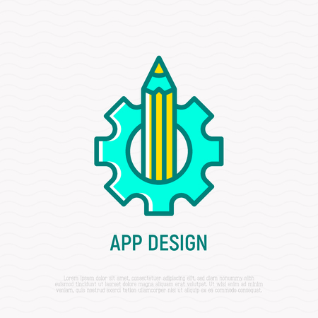 App design thin line icon: pencil and wheel. Modern vector illustration.