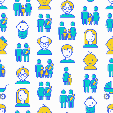 Family seamless pattern with thin line icons: mother, father, newborn, son, daughter, lesbian, gay, single mother and child, grandmother, grandfather. Vector illustration. Ilustração