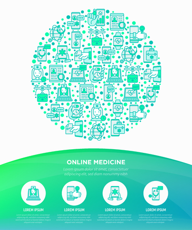 Online medicine, telemedicine concept in circle with thin line icons: pill timer, ambulance online, medical drone, tracker, mHealth, messenger, diagnostics. Vector illustration, print media template.