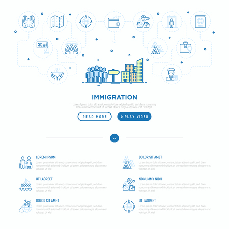 Immigration concept group of people moving on big city. Thin line icons: immigrants, illegals, baggage examination, passport, international flights, customs. Vector illustration, web page template.